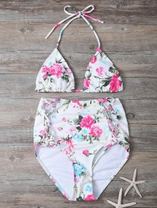 Floral Lace-Up High Waisted Bikini Set - Floral