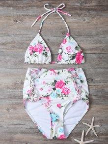 Floral Lace-Up High Waisted Bikini Set
