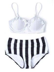 Striped High Waisted Underwired Bikini