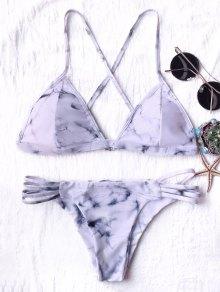Tie Dyed Thong Bikini - Grey And White