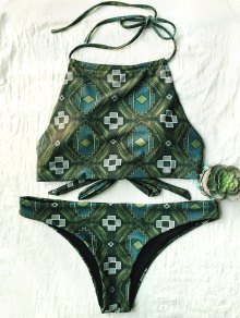 Tile Print High Neck Bikini