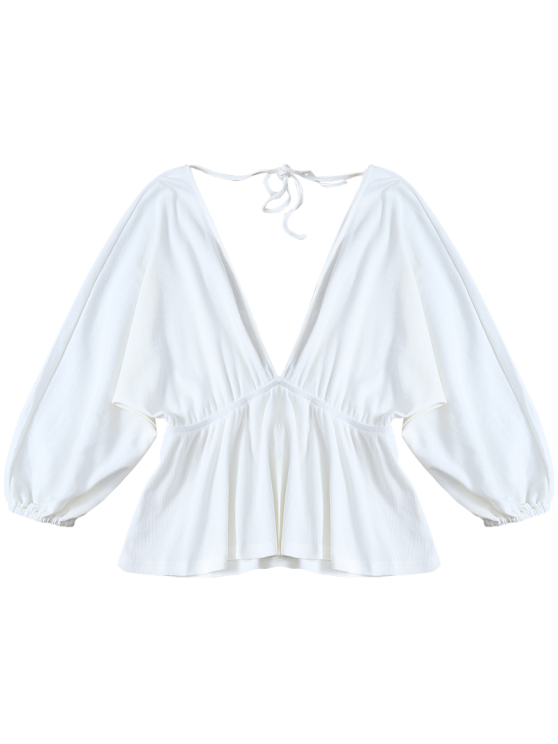 Plunge Neck Dolman Sleeve Shirred Blouse - WHITE XL Mobile