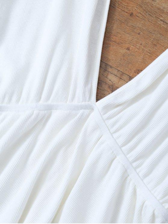 Plunge Neck Dolman Sleeve Shirred Blouse - WHITE L Mobile