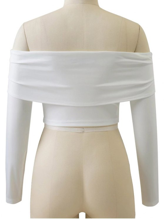 Long Sleeved Off The Shoulder Top - WHITE L Mobile
