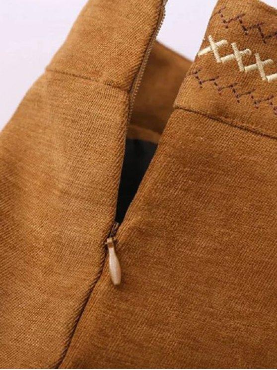 Embroidered Corduroy Skirt - KHAKI S Mobile