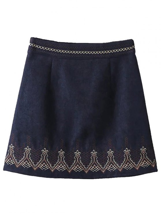 Brodé Corduroy Skirt - Bleu Cadette S