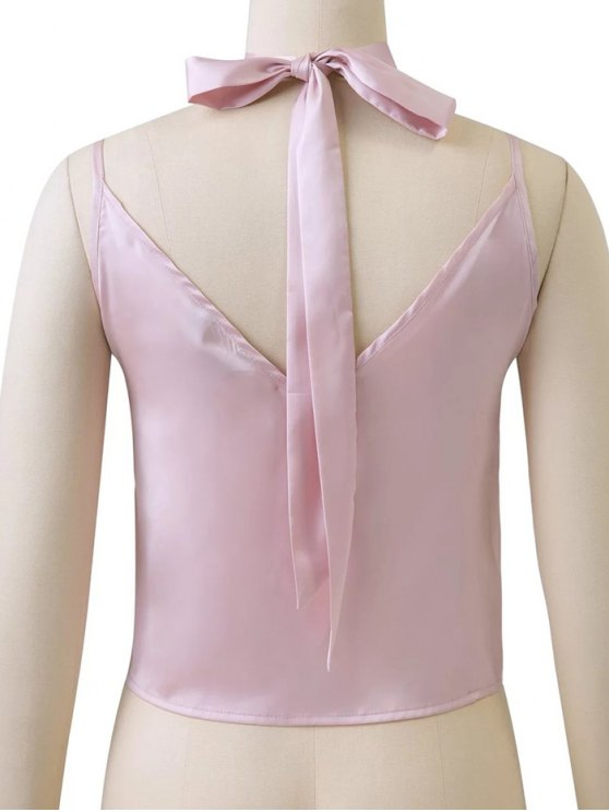 Satin Camisole Top With Choker Strap - PINK L Mobile