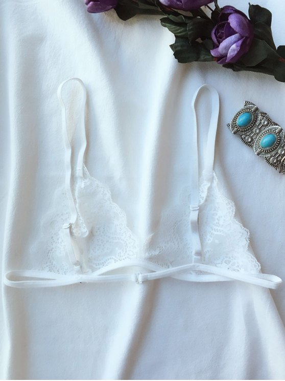 Plunge Unlined Lace Bra - WHITE L Mobile