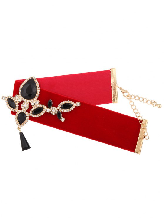 Water Drop Rhinestone Velvet Choker - RED  Mobile