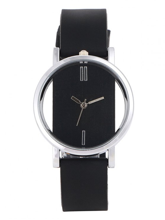 online Analog Silicone Wrist Watch - BLACK