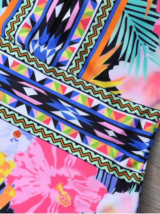 Tropical Print Mesh Insert Plunge Swimwear - FLORAL L Mobile
