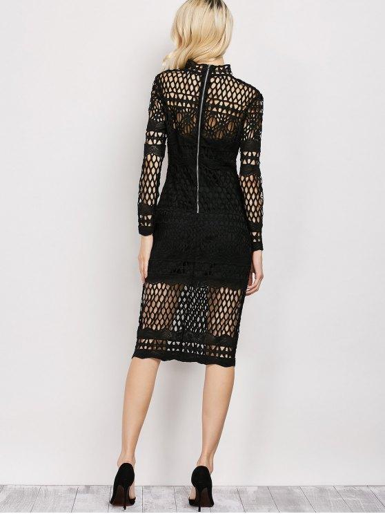 Long Sleeve Geometric Lace Dress - BLACK L Mobile