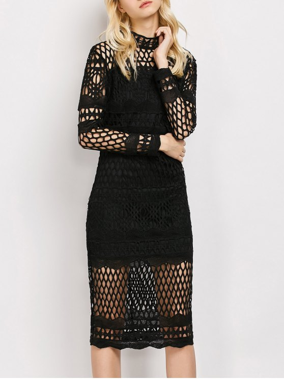 womens Long Sleeve Geometric Lace Dress - BLACK M