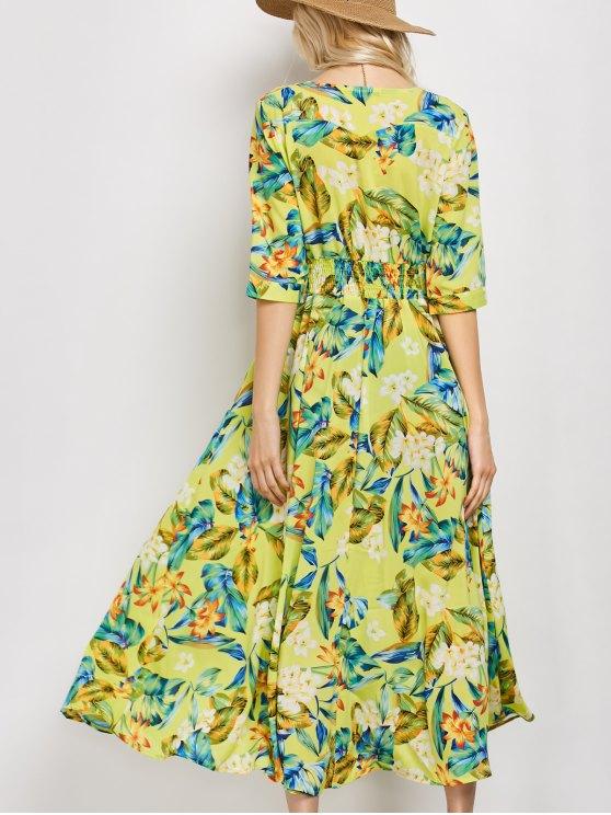 Plunge Neck Bohemian Tropical Floral Maxi Dress - FLORAL XL Mobile