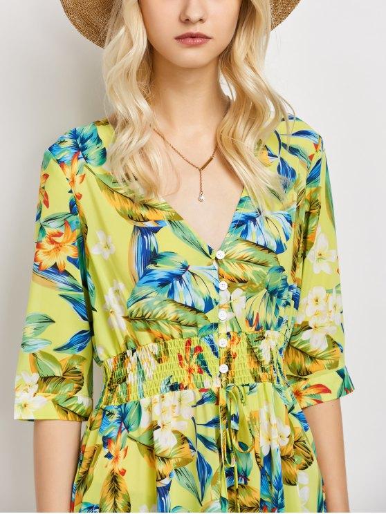 Plunge Neck Bohemian Tropical Floral Maxi Dress - FLORAL L Mobile