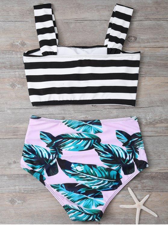 Tropical Print Striped Bikini Set - COLORMIX S Mobile