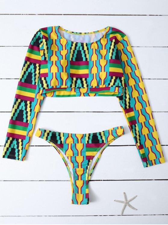 women Cropped High Cut Rashguard Bikini Set - MULTICOLOR S