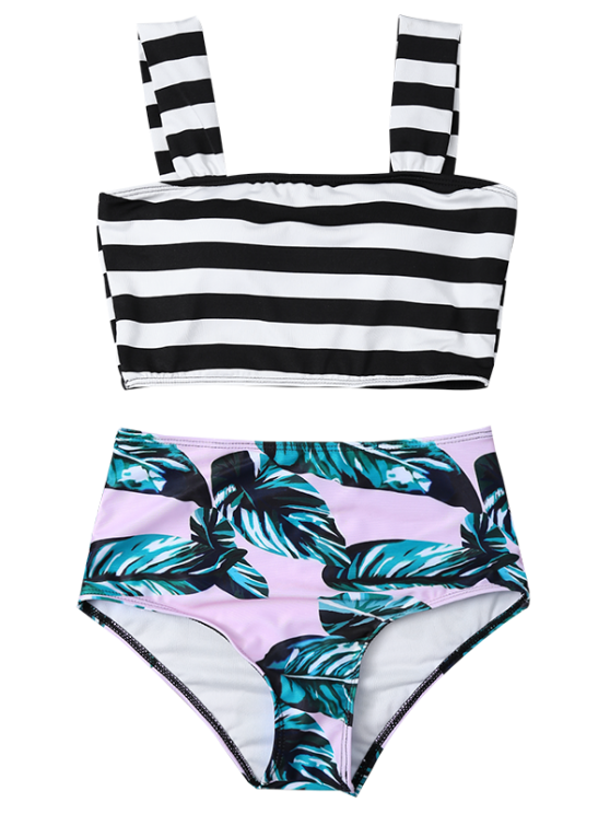 Tropical Print Striped Bikini Set - COLORMIX L Mobile