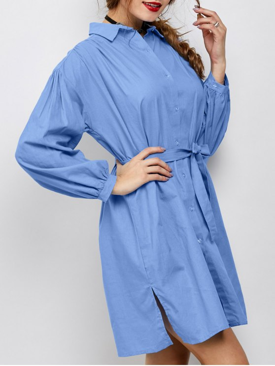 Slit Bowknot Shirt Dress - BLUE M Mobile