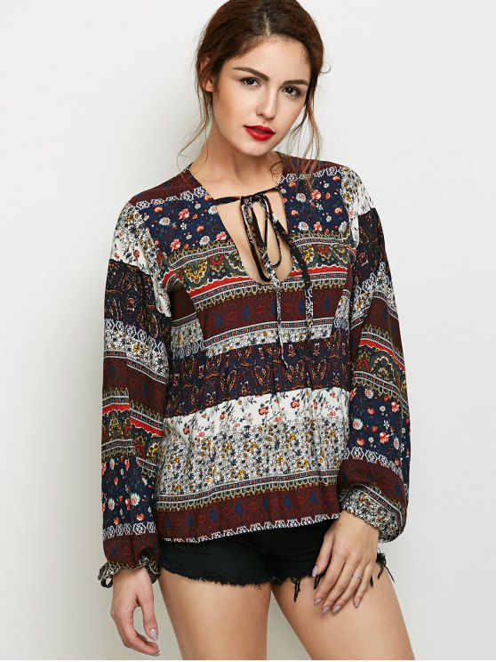 Printed Bubble Sleeve Peasant Top - MULTICOLOR L Mobile