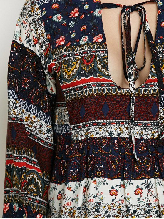 Printed Bubble Sleeve Peasant Top - MULTICOLOR M Mobile