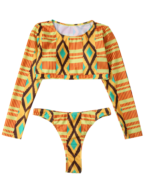 Printed Long Sleeve Bathing Suit - MULTICOLOR M Mobile