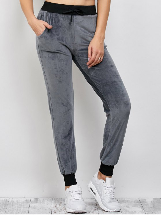 Drawstring Velvet Sports Pants - DEEP GRAY L Mobile