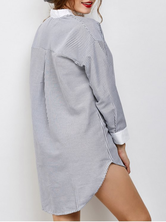 Striped High-Low Shirt - WHITE AND BLACK ONE SIZE Mobile