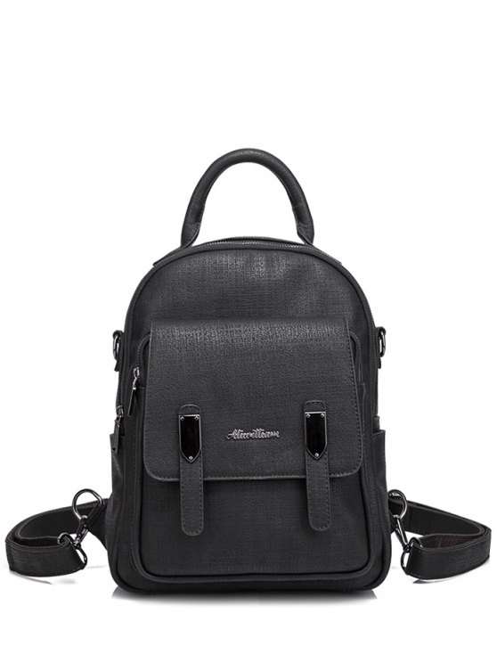 Pocket Faux Leather Double Zipper Backpack - BLACK  Mobile
