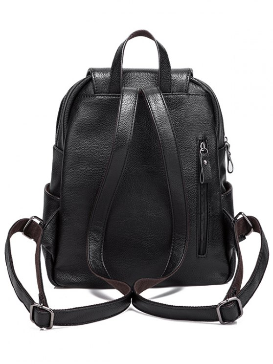 Faux Leather Zippers Pockets Backpack - BLACK  Mobile