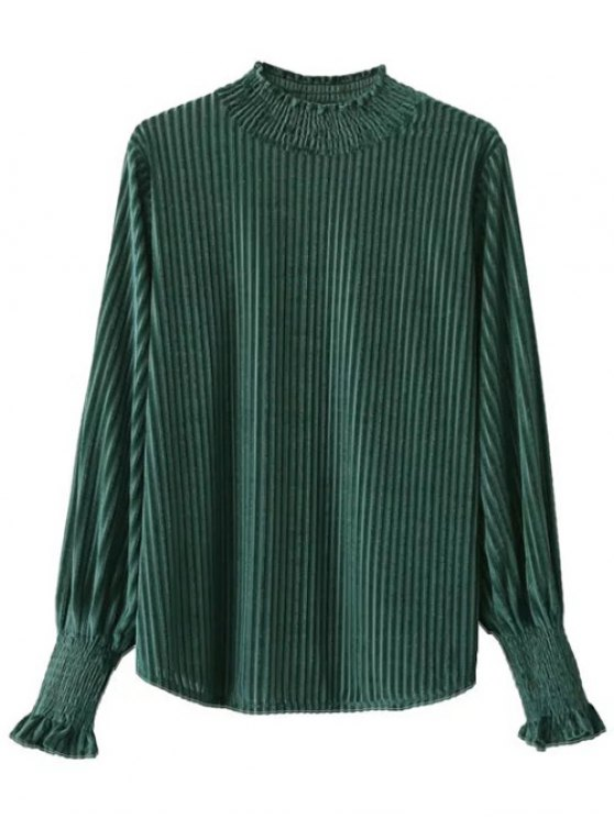 Frilled Ruffles Corduroy Blouse - GREEN ONE SIZE Mobile