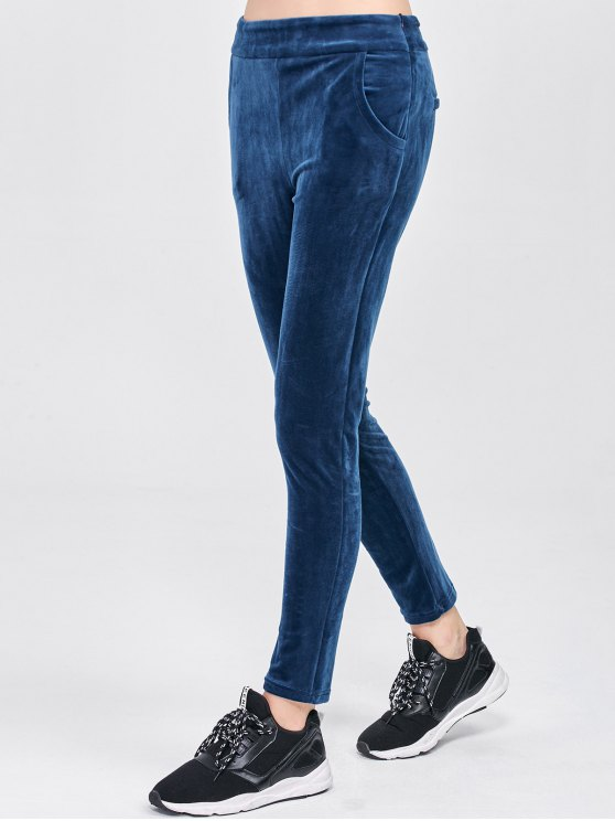 Velour Pants with Pockets - BLUE L Mobile