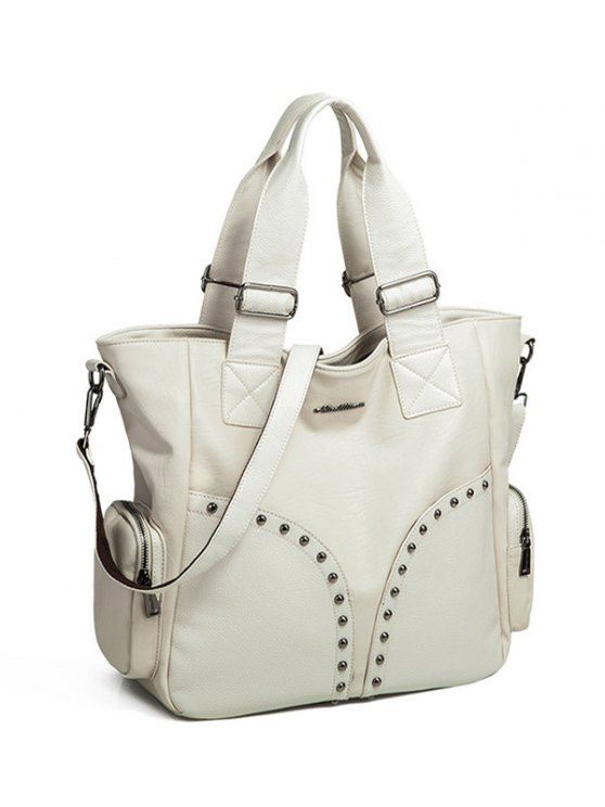 Studded Faux Leather Double Pocket Tote Bag - OFF-WHITE  Mobile