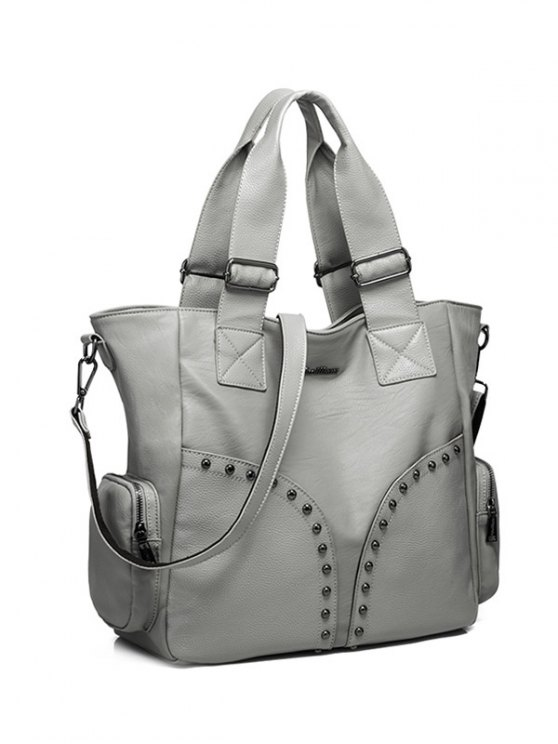 Studded Faux Leather Double Pocket Tote Bag -   Mobile