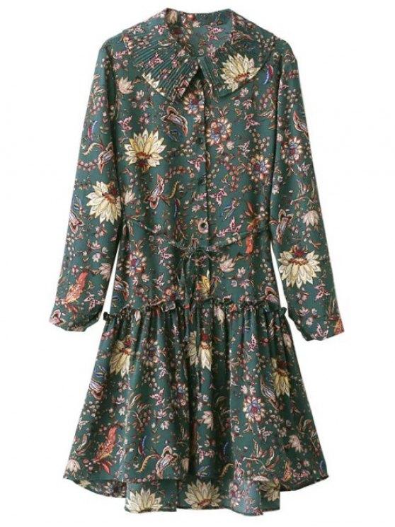 Frilled Floral Vintage Dress - GREEN ONE SIZE Mobile