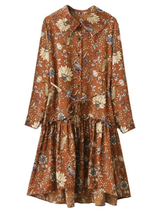 Ruffle Floral Vintage Dress - GINGER ONE SIZE Mobile
