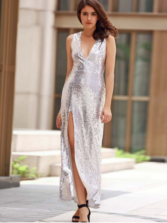 Backless Sequins Formal Long Sparkly Dress - SILVER S Mobile