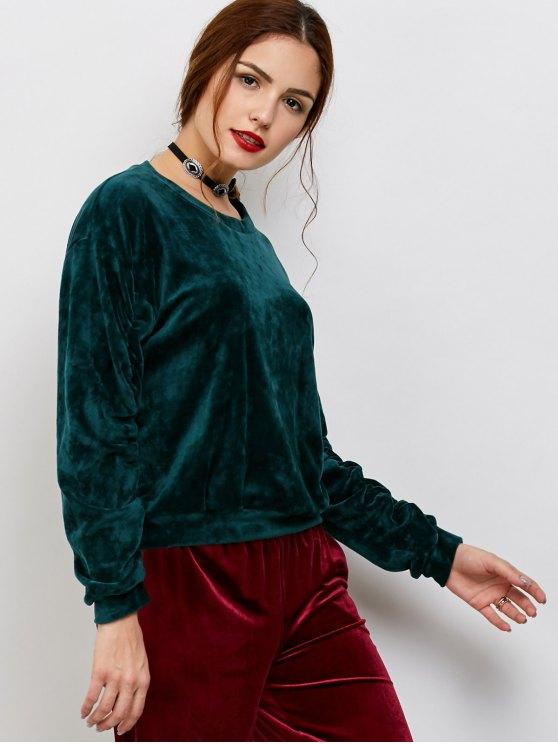 Drop Shoulder Oversized Velvet Sweatshirt - BLACKISH GREEN ONE SIZE Mobile