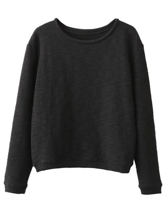 Oversized Cotton Sweatshirt - BLACK ONE SIZE Mobile