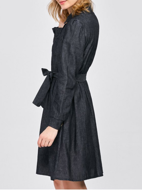 Belted Jean Shirt Dress - BLACK L Mobile