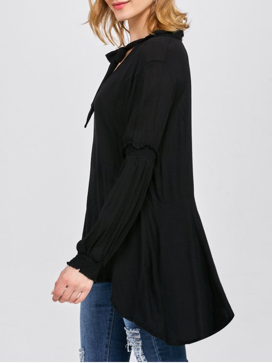 Balloon Sleeve Loose Top - BLACK S Mobile