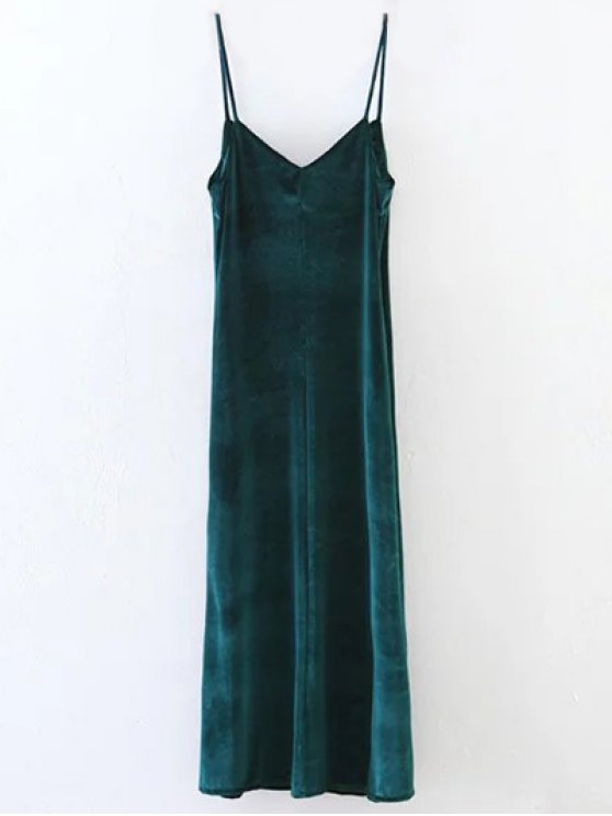 Casual Velvet Maxi Slip Dress - GREEN M Mobile