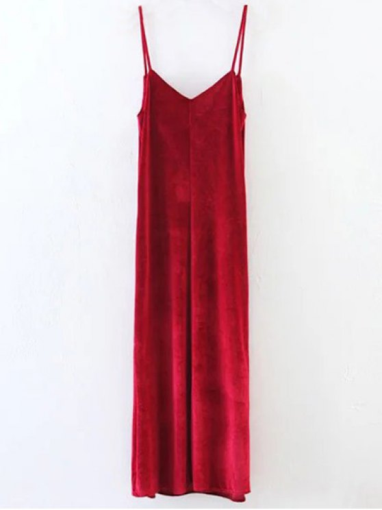 Casual Velvet Maxi Slip Dress - WINE RED M Mobile