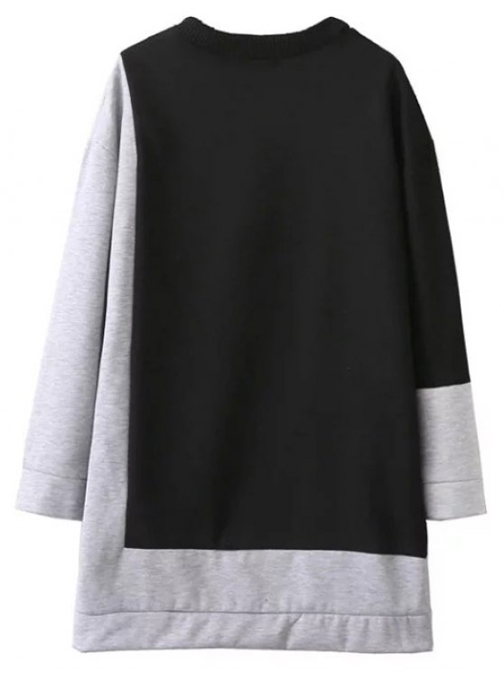 Two Tone Oversized Sweatshirt Dress - BLACK AND GREY L Mobile