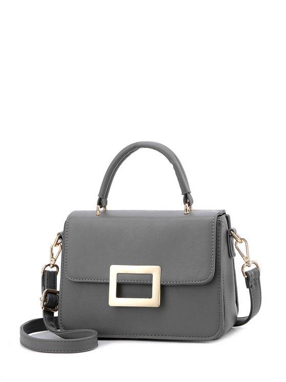 women's Metal Embellished Faux Leather Handbag - GRAY