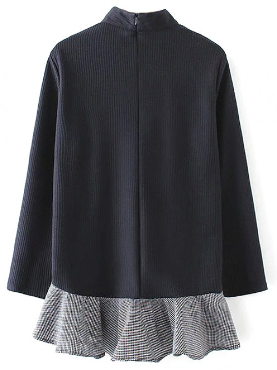 Frill Hem High Collar Blouse - PURPLISH BLUE M Mobile