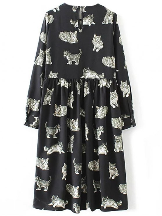 Kittens Print Long Sleeve Smock Dress - BLACK M Mobile