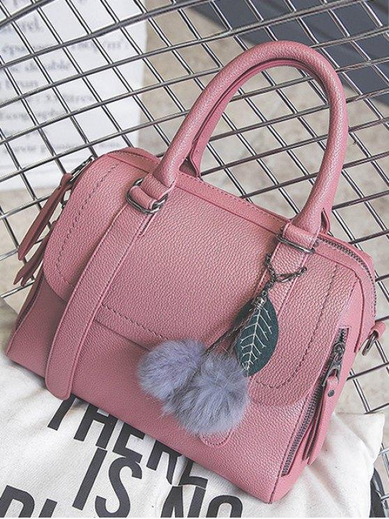 Pompon Straps Faux Leather Handbag - PINK  Mobile