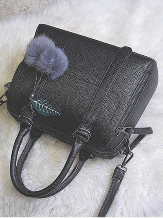 Pompon Straps Faux Leather Handbag - BLACK  Mobile