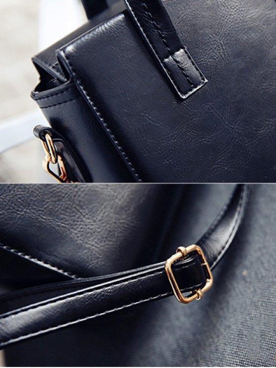 Color Blocking Pendant Handbag - BLACK  Mobile
